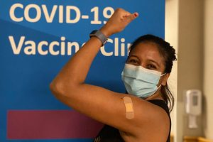 Rina Patel of Anna Jaques Hospital Receives COVID-19 Vaccine